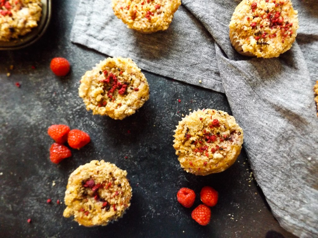 Raspberry Hazelnut Coffee Cake Muffins