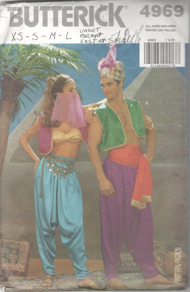 Aladdin Pants Sewing Pattern Butterick 4969 Adult Belly Dancer Aladdin Costume Pattern Bra Etsy