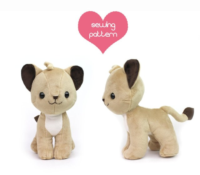 Animal Sewing Patterns Pdf Sewing Pattern Lion Cub Stuffed Animal Chibi Cat Etsy