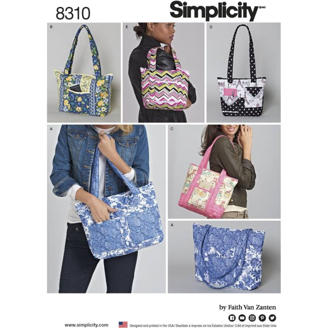 Bag Sewing Patterns Simplicity Tote Bags Sewing Pattern 8310 Hobcraft