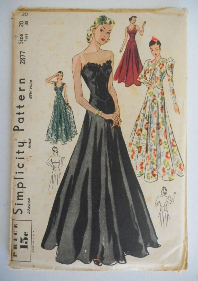 Ball Gown Sewing Patterns Vintage 1930s Simplicity Pattern Formal Gown Wedding Ball Gown