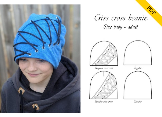 Beanie Sewing Pattern Criss Cross Beanie Pdf Sewing Pattern Instant Download Tutorial