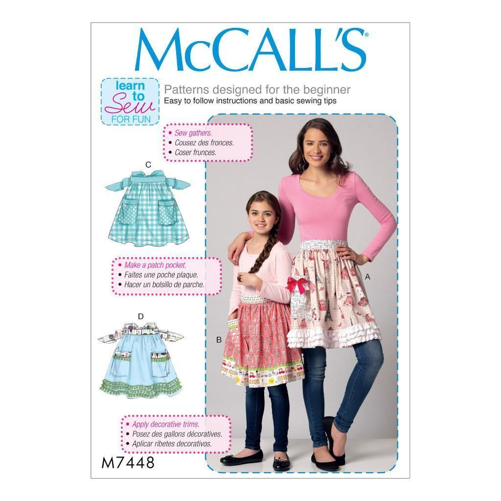 Beginner Sewing Patterns Mccall S Sewing Pattern Beginner Misses Girls Aprons Miss S X Girl M