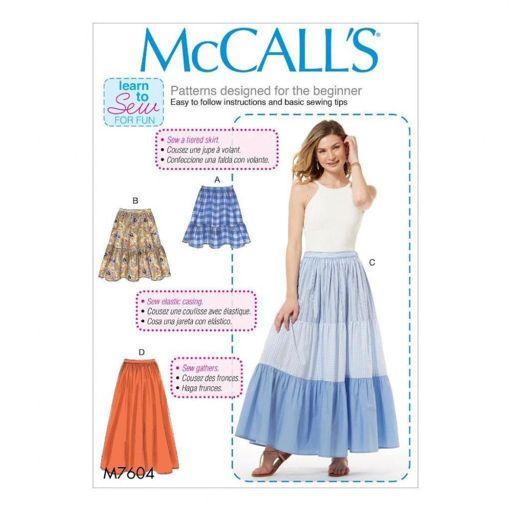 Beginner Sewing Patterns Mccall S Sewing Pattern Misses Beginner Learn To Sew Skirts Size Xsm