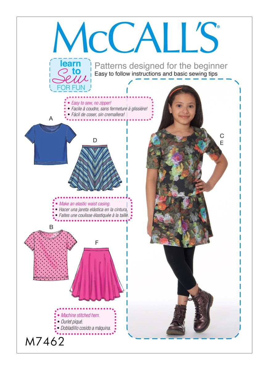 Beginner Sewing Patterns Mccalls 7462 Girlsgirls Plus Knit Tops And Flared Skirts