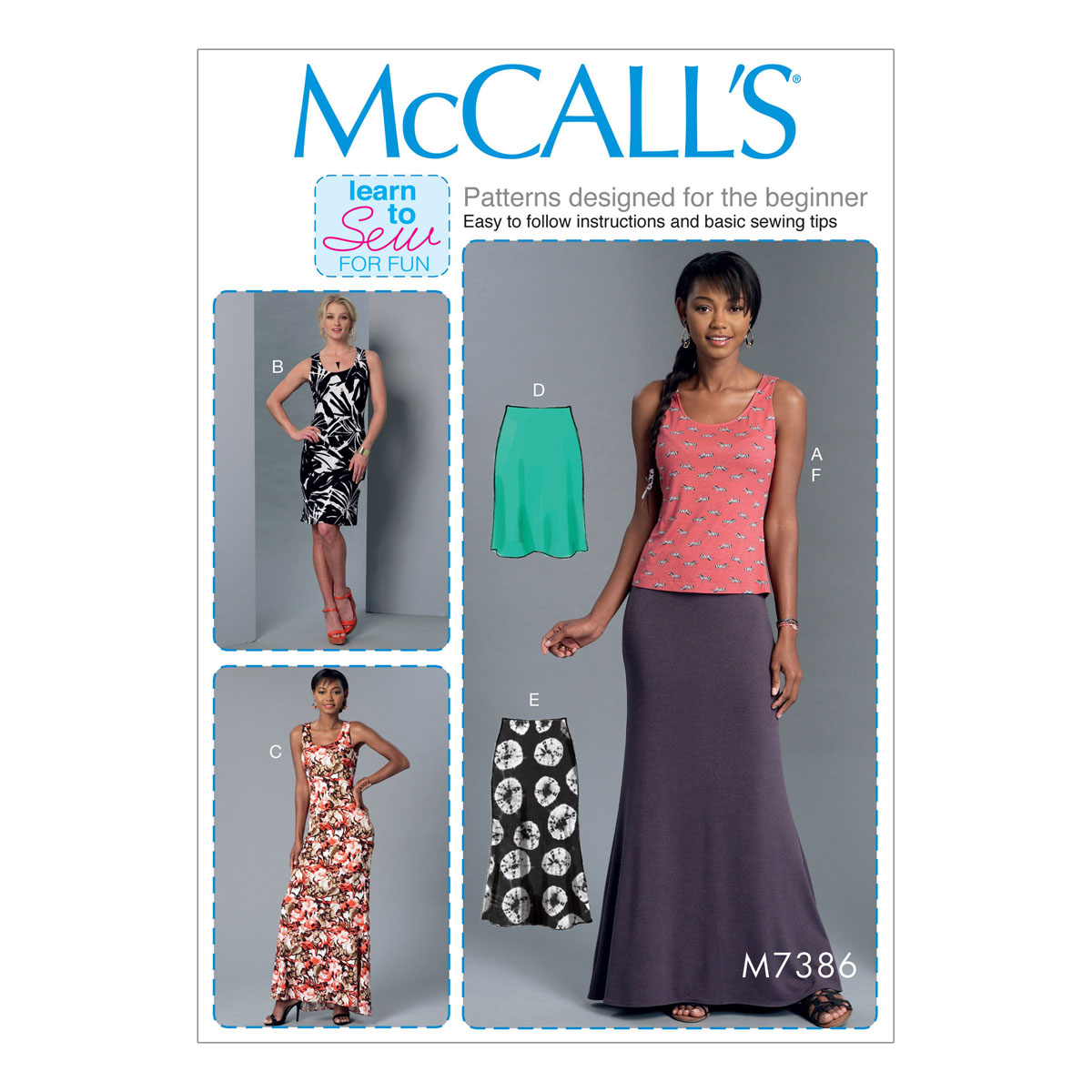 Beginner Sewing Patterns Mccalls Sewing Pattern M7386 Misses Knit Tank Top Dresses And