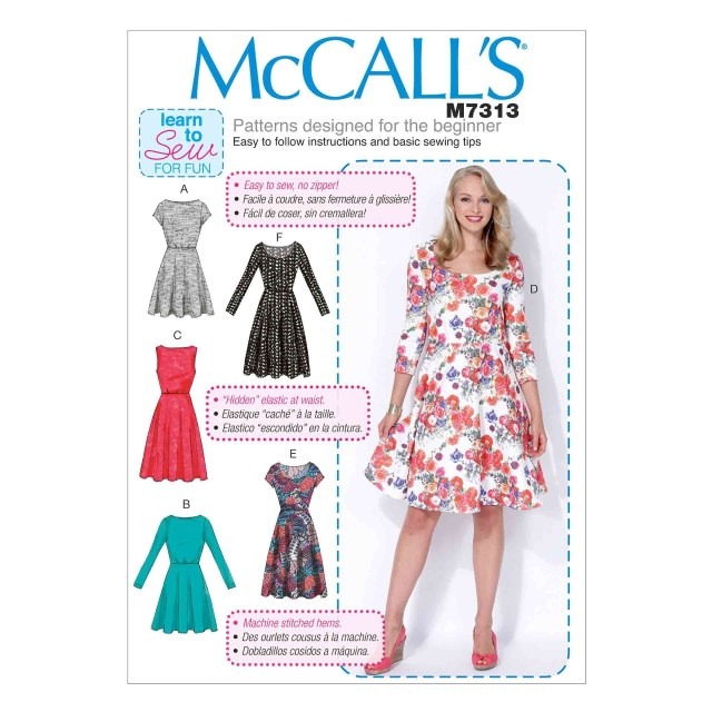 Beginner Sewing Patterns Mccalls Sewing Pattern Misses Dressesm73138 16 Abakhan