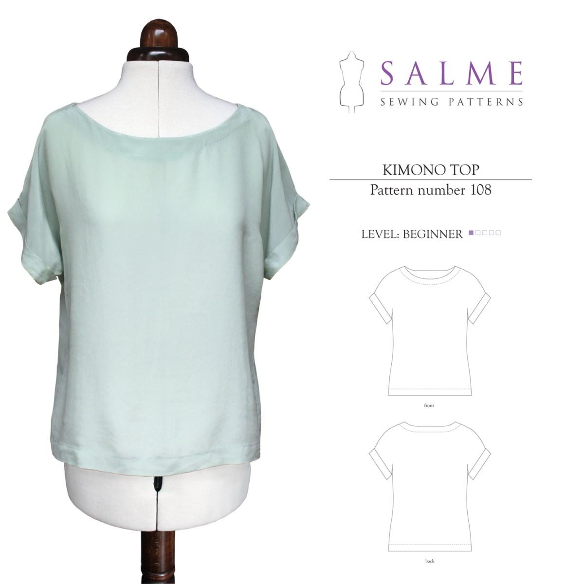 Beginner Sewing Patterns Salme Sewing Patterns 108 Kimono Top Downloadable Pattern