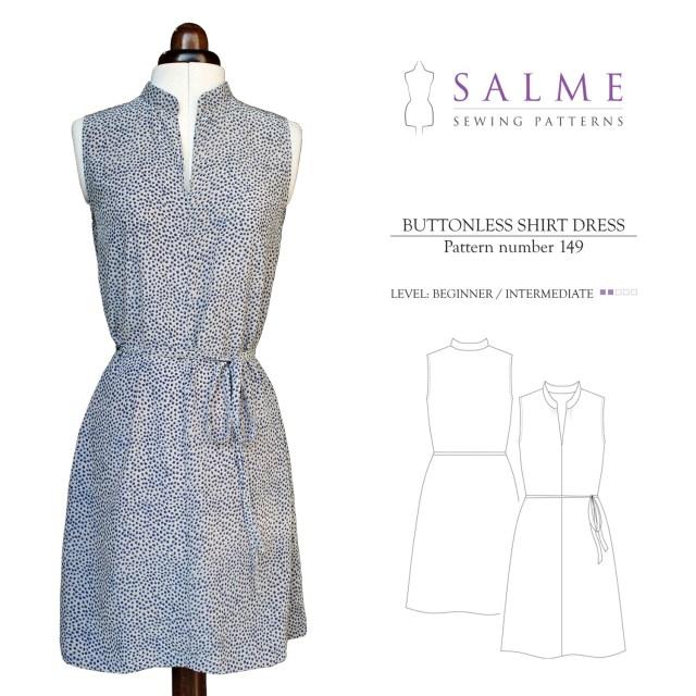 Beginner Sewing Patterns Salme Sewing Patterns 149 Buttonless Shirt Dress Downloadable Pattern