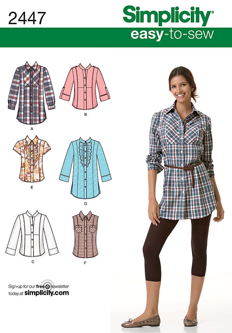 Blouse Sewing Pattern Free Womens Shirt Easy Sewing Pattern 2447 Simplicity Easy To Sew
