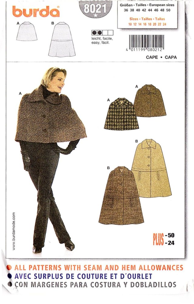 Cape Sewing Pattern Burda 8021 Misses Cape And Capelet Sewing Pattern