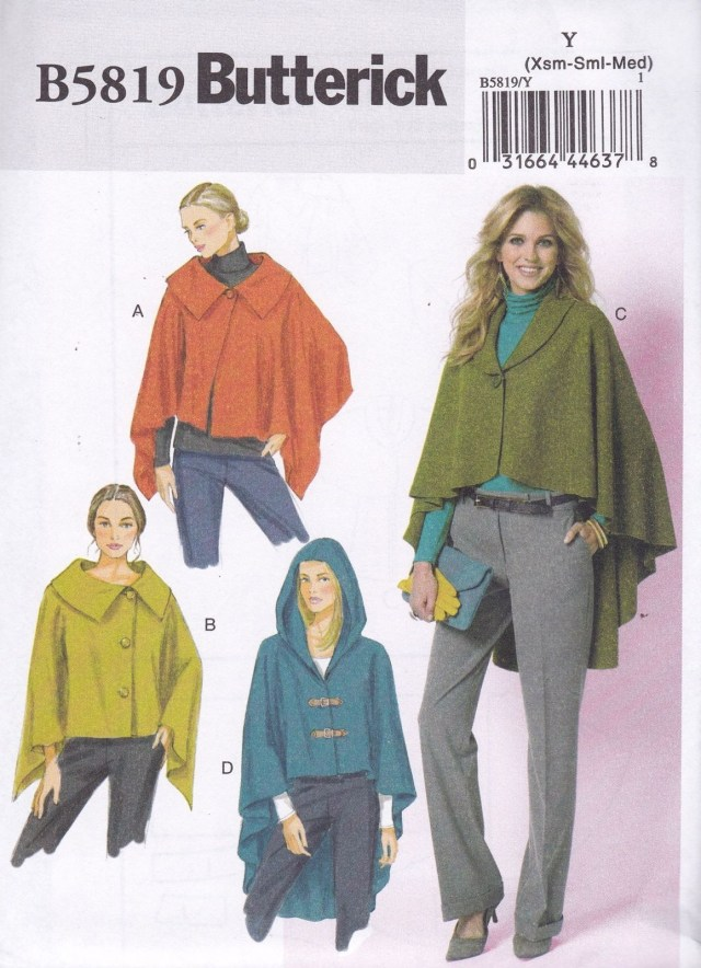 Cape Sewing Pattern Butterick Easy Sewing Pattern Misses Wrap Cape Sizes Xsm Xxl B5819