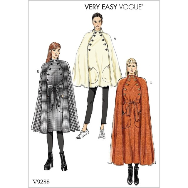 Cape Sewing Pattern Misses Cape With Stand Collar Pockets And Belt Vogue Sewing