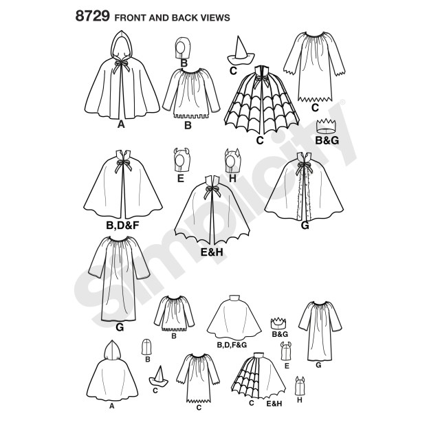 Cape Sewing Pattern Simplicity Pattern 8729 Childs Cape Costumes
