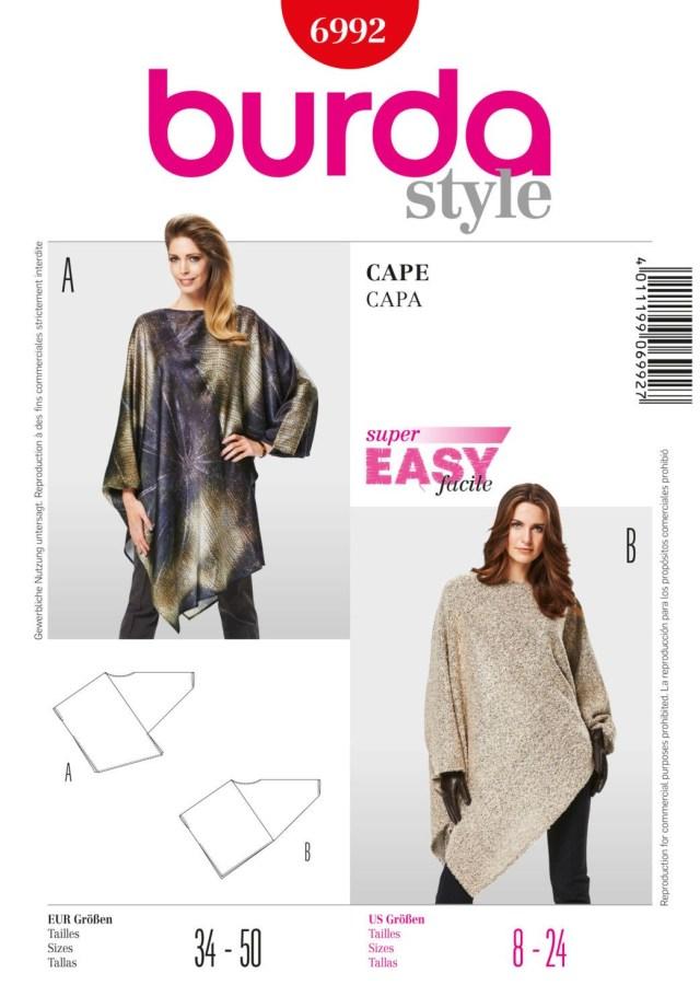 Cape Sewing Pattern Womens Cape Pattern Burda 6992 Boho Tunic Pattern Asymmetrical Cape