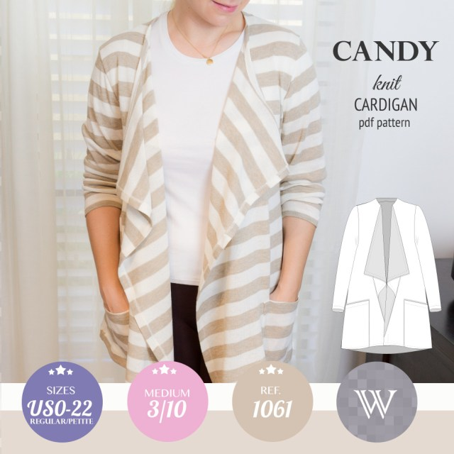 Cardigan Sewing Pattern Candy Relaxed Fit Knit Cardigan With Pockets And Waterfall Neckline
