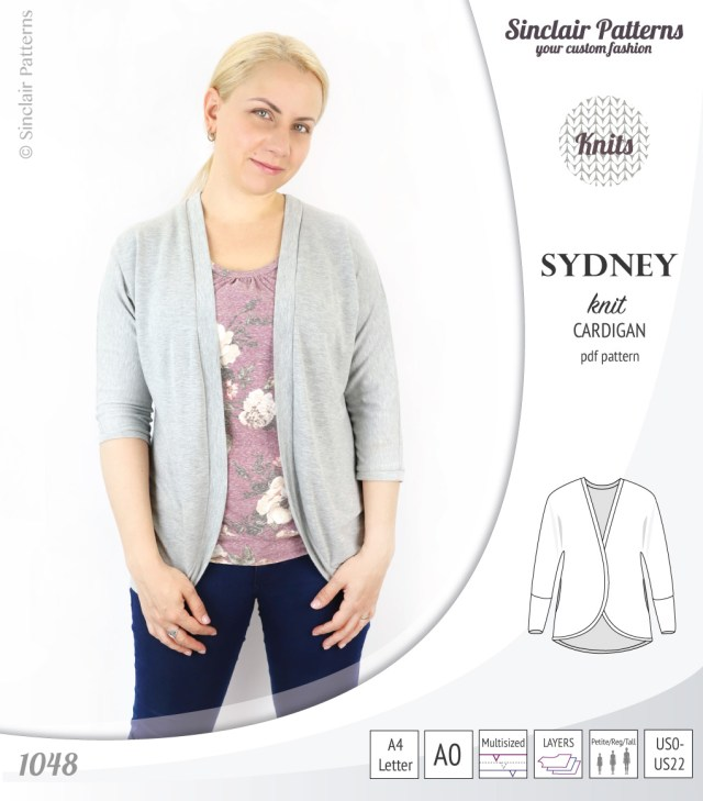 Cardigan Sewing Pattern Sydney Slim Fit Cocoon Style Knit Cardiganpdf Sinclair Patterns