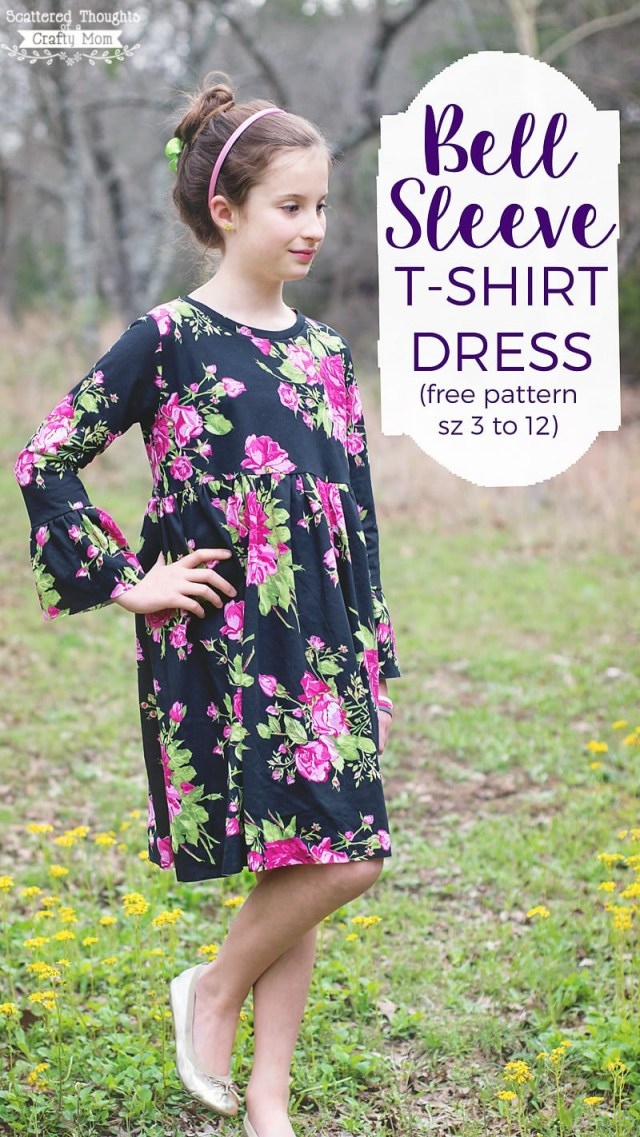 Childrens Sewing Patterns Free Bell Sleeve T Shirt Dress Pattern Size 3 To 12 Scattered
