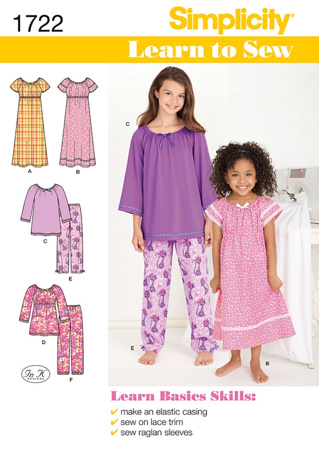 Childrens Sewing Patterns Simplicity In K Designs Learn To Sew Girls Sewing Pattern 1722