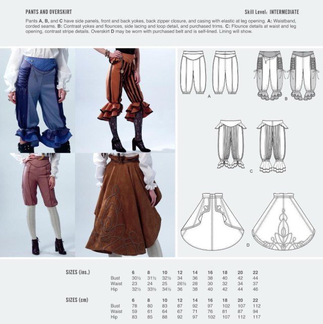 Cosplay Sewing Patterns Cosplay Mccall S Sewing Pattern Pants Overskirt Size 6 22 M2085