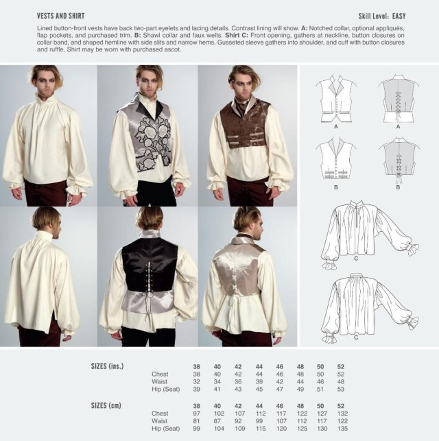Cosplay Sewing Patterns Cosplay Mccall S Sewing Pattern Waistcoat Vest Shirt Size 38