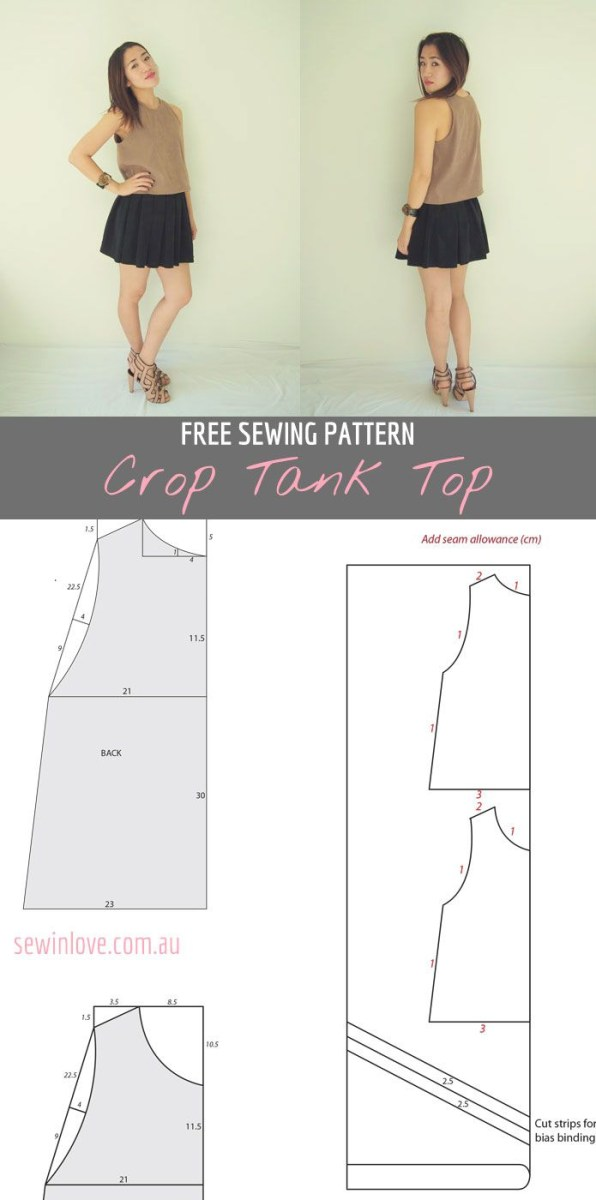 Crop Top Sewing Pattern Free Crop Tank Top Sewing Pattern And Tutorial Sewing Sewing