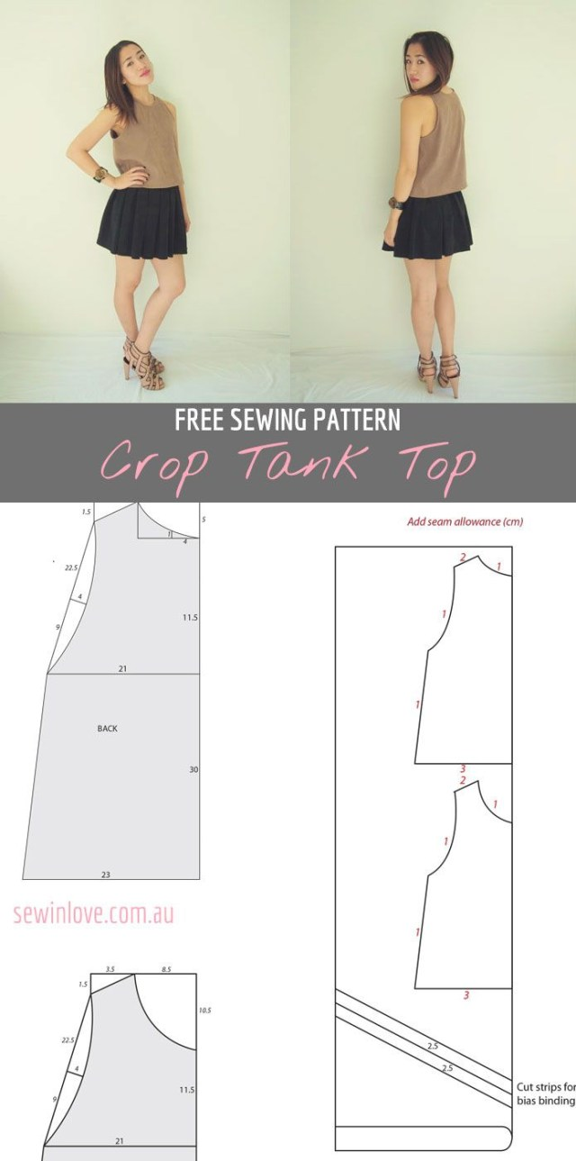 Crop Top Sewing Pattern Free Crop Tank Top Sewing Pattern And Tutorial Sewing Sewing