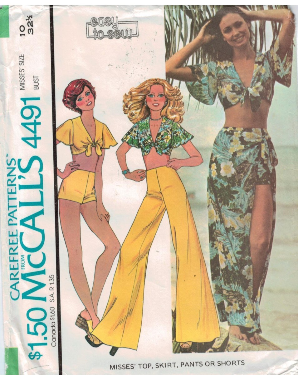 Crop Top Sewing Pattern Mccalls Pattern 4491 Sarong Wrap Skirt Tie Front Crop Top And Hip