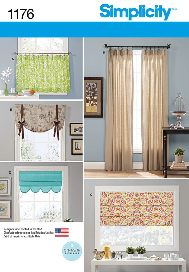 Curtain Sewing Patterns Simplicity 1176 Window Treatments