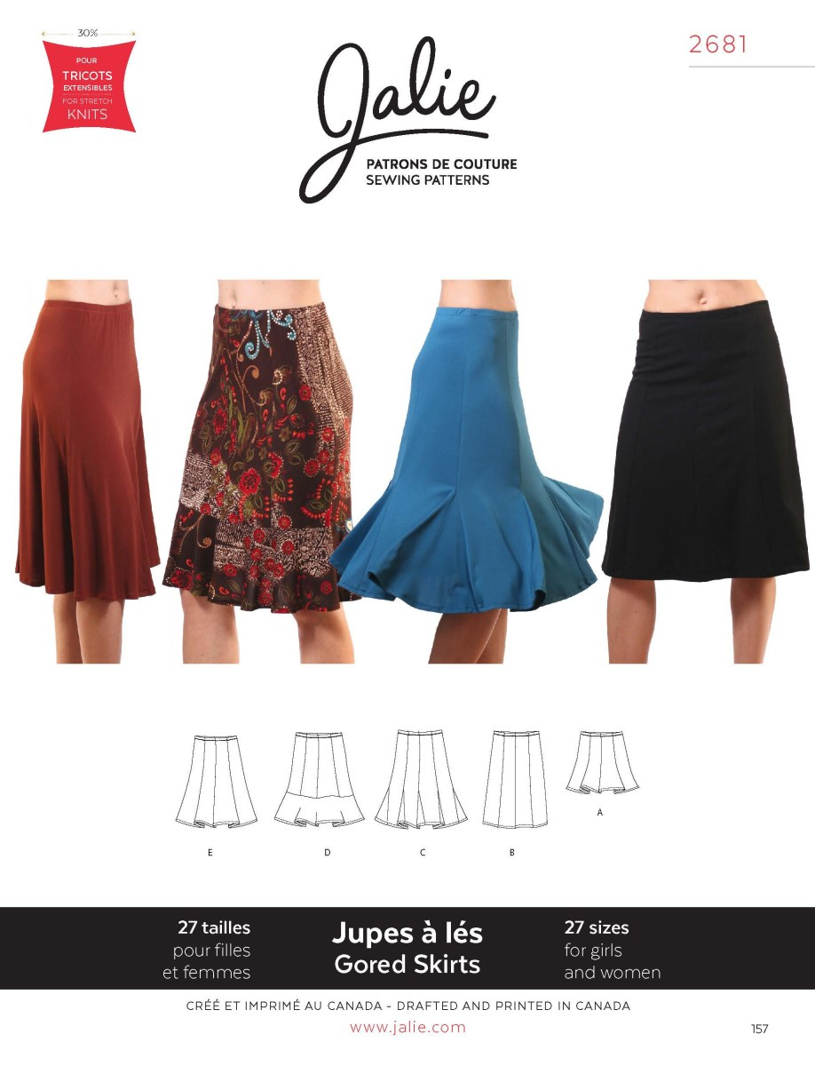 Dance Skirt Sewing Pattern Jalie 2681 Knit Gored Skirts Pattern Sewing Patterns