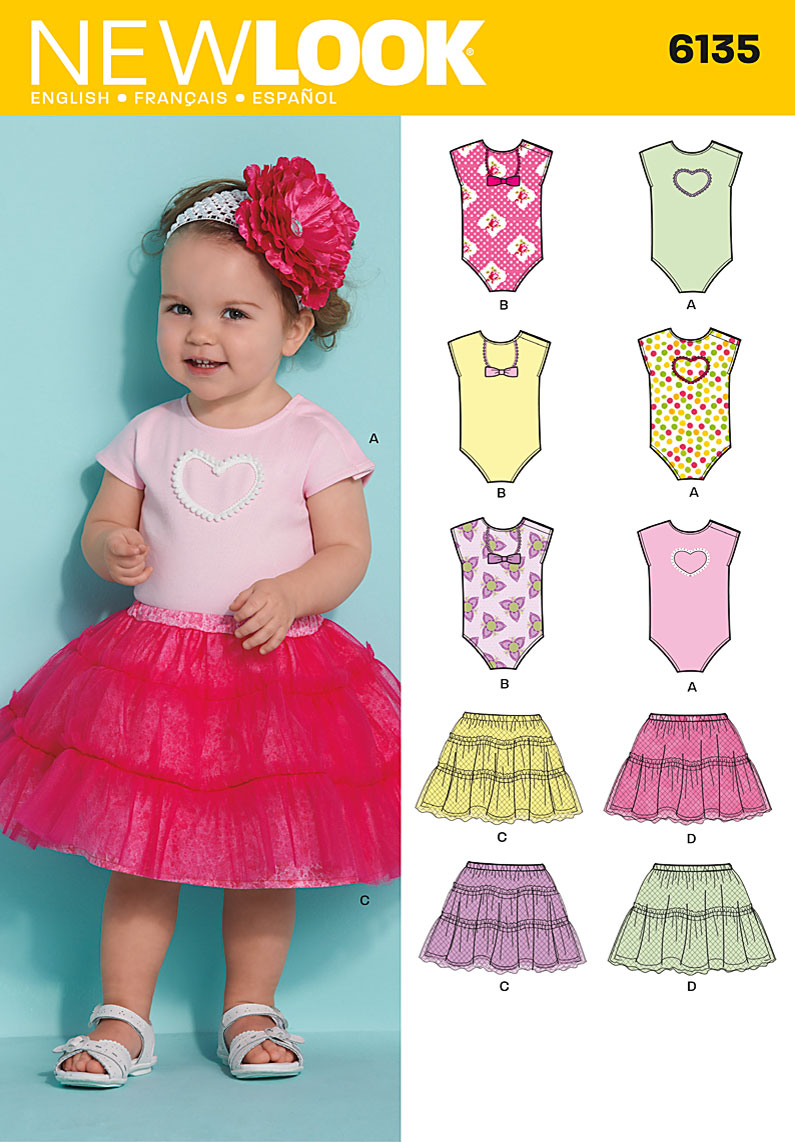 Dance Skirt Sewing Pattern New Look 6135 Babies Skirt And Bodysuit