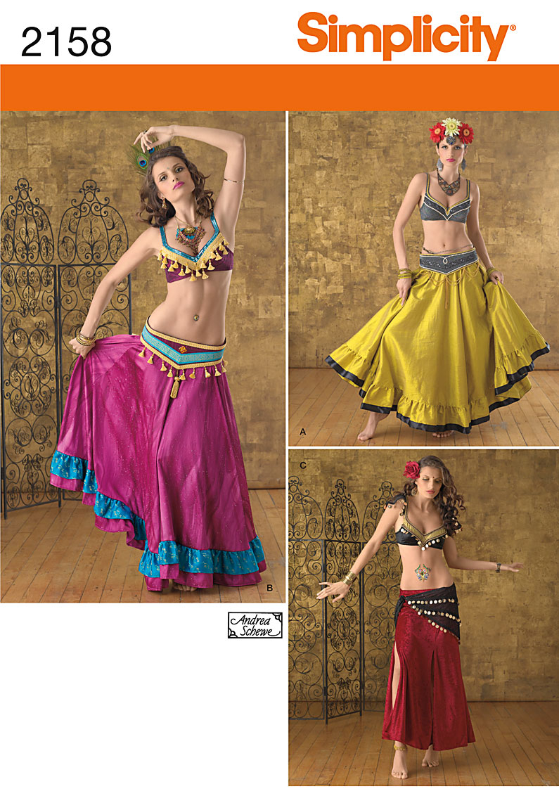 Dance Skirt Sewing Pattern Simplicity 2158 Misses Belly Dance Costume Top Skirt Belt Sewing