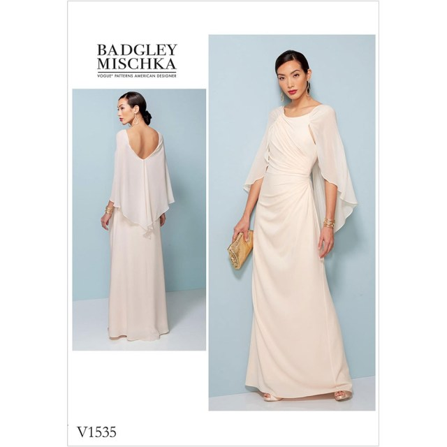 Dress Sewing Patterns Misses Pleated And Ruched Dress With Attached Cape Vogue Sewing