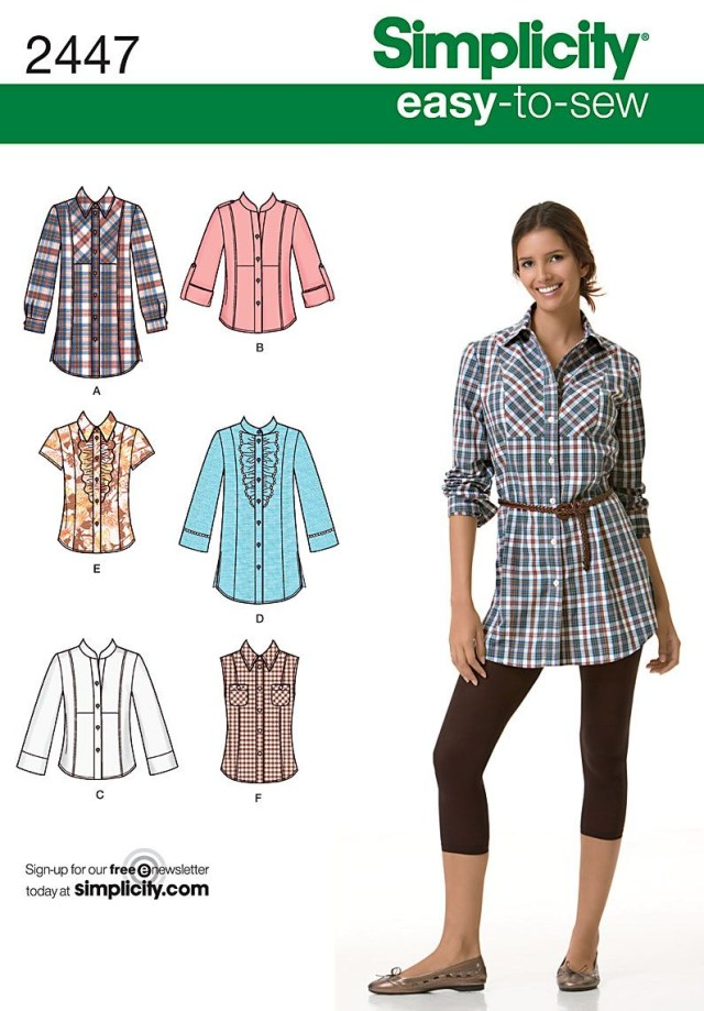 Easy Blouse Sewing Pattern Womens Shirt Easy Sewing Pattern 2447 Simplicity Easy To Sew