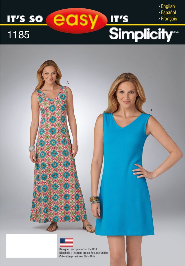 Easy Sewing Patterns For Beginners Simplicity 1185 Its So Easy Dress In Two Lengths