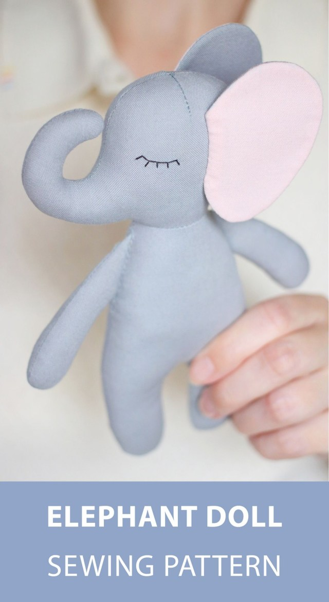 Elephant Sewing Pattern Pdf Elephant Sewing Pattern Tutorial Diy Jungle Animal Rag Doll