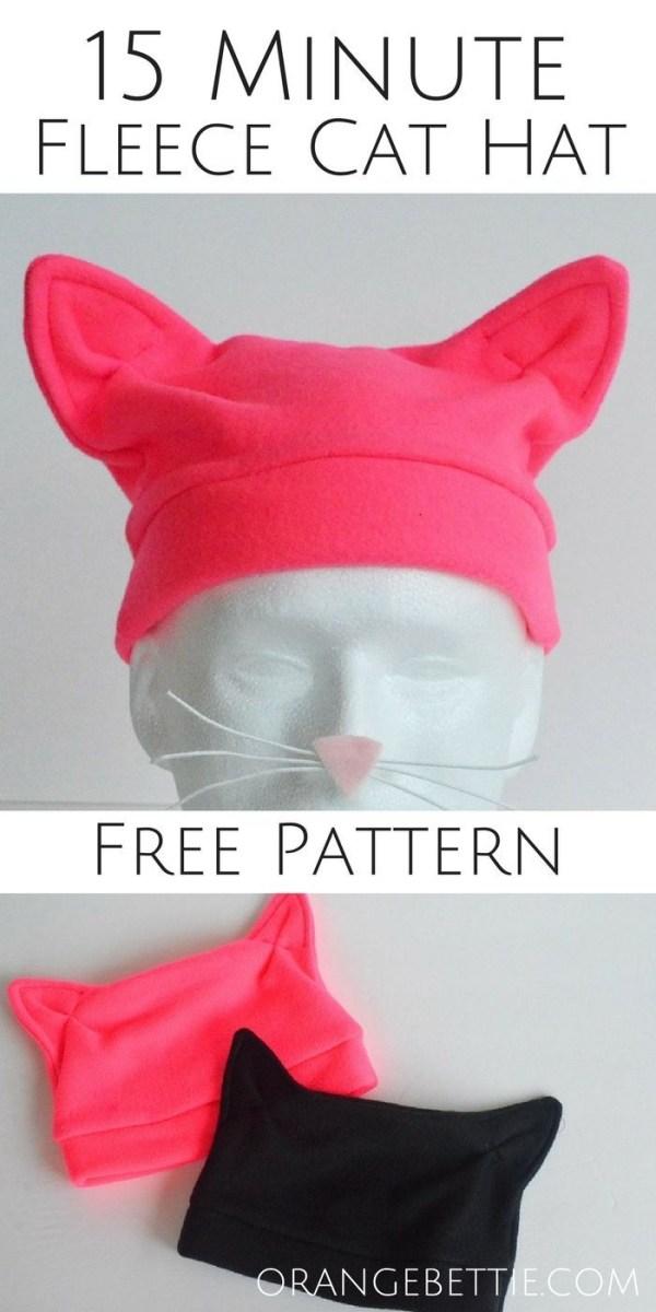 Fleece Sewing Projects 15 Minute Fleece Cat Hat Free Pattern Sew Much Fun Sewing
