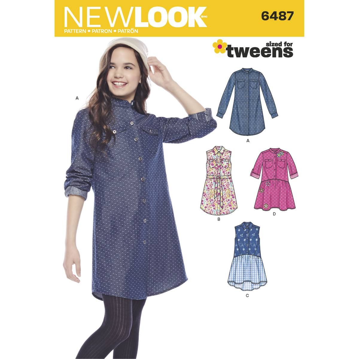Girls Sewing Patterns New Look Girls Shirt Dress Sewing Pattern 6487 Hobcraft