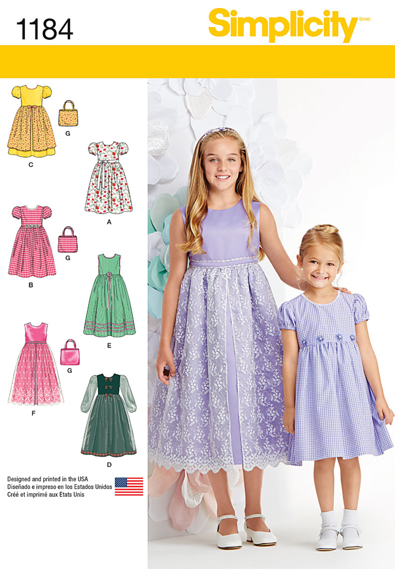 Girls Sewing Patterns Simplicity 1184 Childs And Girls Dresses And Purse