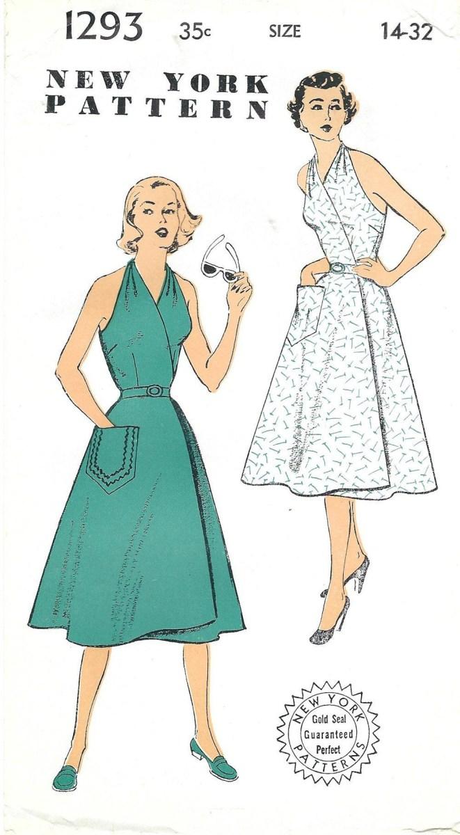 Halter Neck Sewing Pattern 1950s New York 1293 Ff Vintage Sewing Pattern Misses Sundress Wrap
