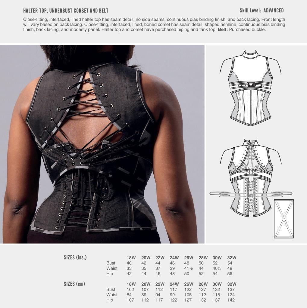 Halter Neck Sewing Pattern Cosplay Mccall S Sewing Pattern Halter Top Underbust Corset 18w