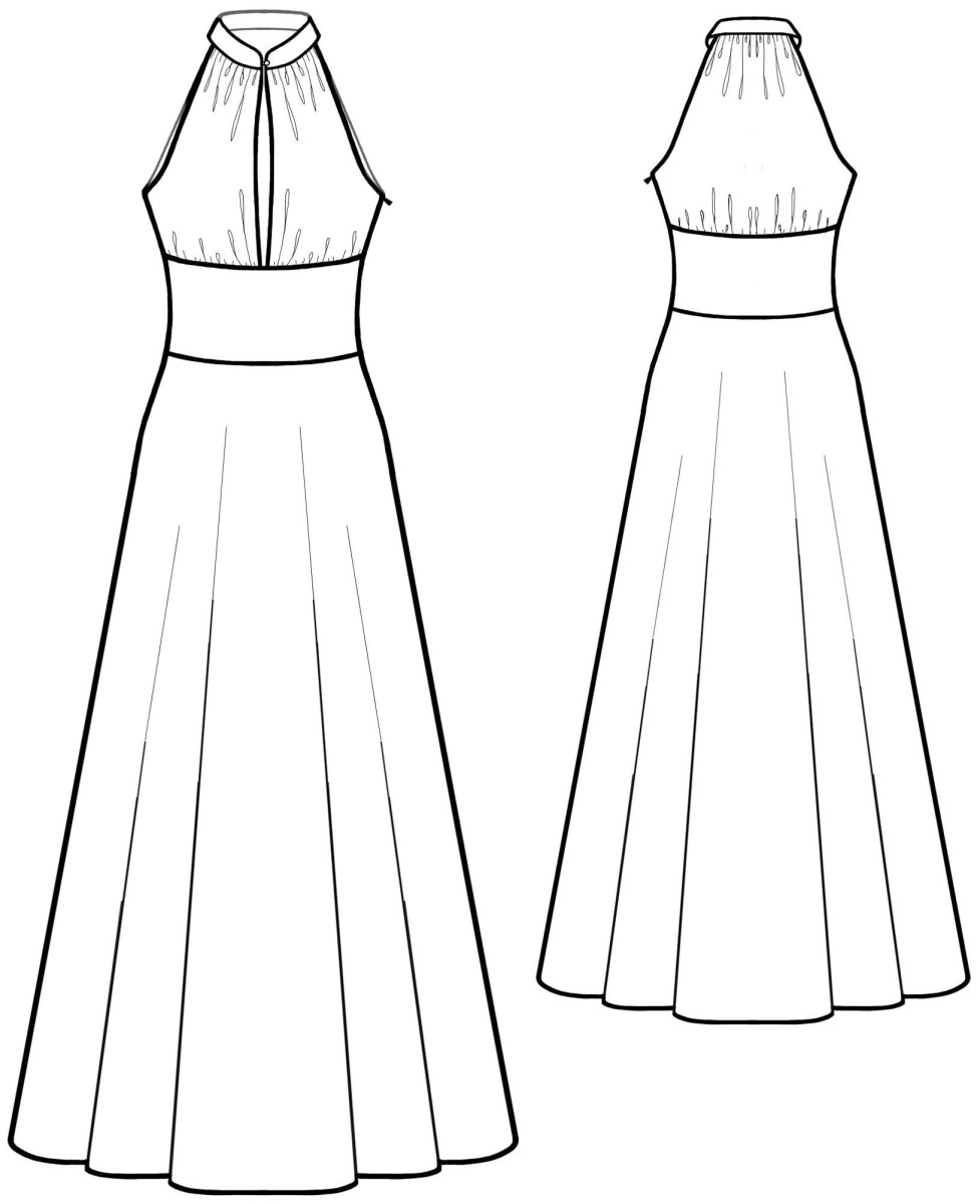 Halter Neck Sewing Pattern Dres With Stand Collar Sewing Pattern 5583 Made To Measure