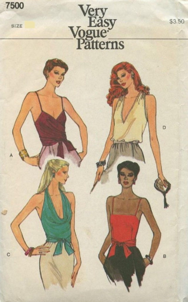 Halter Neck Sewing Pattern Vogue 7500 Misses Slinky Sexy Halter Top Deep Plunge Cowl And V