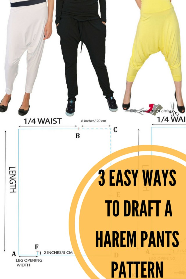 Harem Pants Sewing Pattern 3 Easy Ways To Draft A Harem Pants Pattern Sewing Tutorials Tips