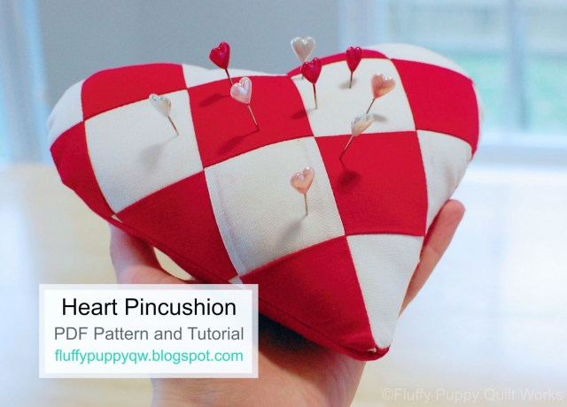 Heart Pillow Sewing Pattern Fluffy Puppy Quilt Works Heart Shaped Pincushion Tutorial And Pdf