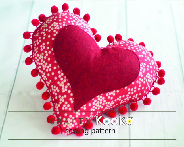 Heart Pillow Sewing Pattern Valentines Day Sewing Heart Pillow Pdf Heart Sewing Pattern Large