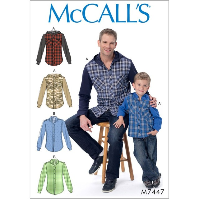 Hood Sewing Pattern Mens And Boys Button Down Shirts With Hood Or Collar Mccalls Sewing