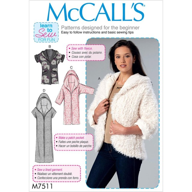 Hood Sewing Pattern Misses Open Front Jackets With Shawl Collar And Hood Mccalls Sewing