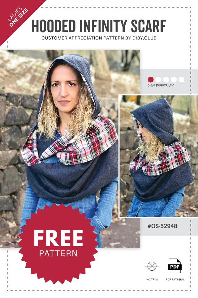 Infinity Scarf Sewing Pattern Hooded Infinity Scarf Free Pdf Sewing Pattern Di Club