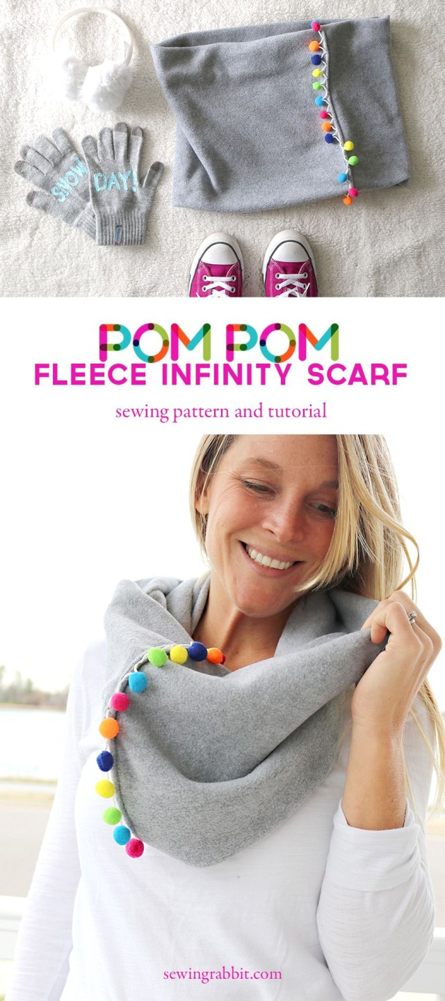 Infinity Scarf Sewing Pattern Pom Pom Infinity Scarf Recipe Sew Featured Pinterest Sewing